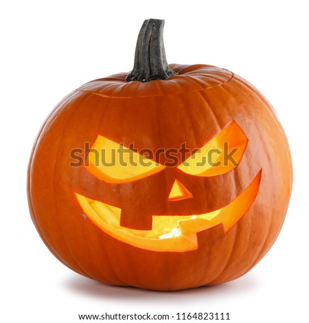 One Halloween Pumpkin isolated on white background #1164823111