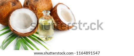 Coconut oil in a bottle with coconuts and green palm tree leaf isolated on a white background. Border design. Wide angle. Healthy Food, skin care concept. Vegan food #1164891547