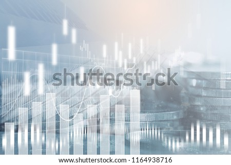 Financial investment concept. Stock market or forex trading graph and stock exchange, summary chart, economy trends background. Abstract finance background for business presentation. #1164938716