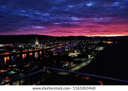 The capitol building and the Kanawha river at sunrise, Charleston, West Virginia. Shot from the Imperial Towers in 2018. #1165003468
