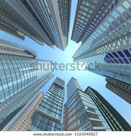 Vertical view of modern skyscrapers in business district against blue sky. 3d illustration #1165040827