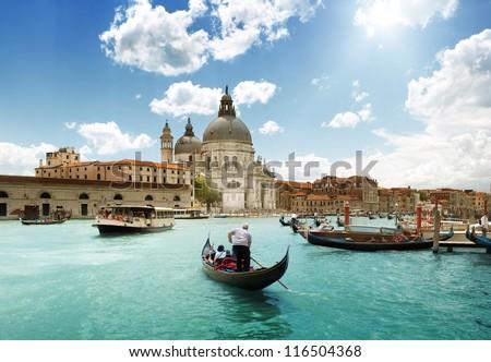 Grand Canal and Basilica Santa Maria della Salute, Venice, Italy and sunny day Royalty-Free Stock Photo #116504368