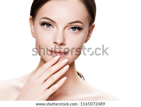 Beautiful skin woman cosmetic face isolated on white #1165072489