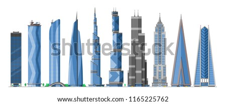 Building skyscraper in cityscape vector city skyline and business officebuilding of commercial company and build architecture to high sky set illustration isolated on white background Royalty-Free Stock Photo #1165225762