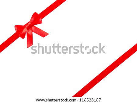 red ribbon bow on white background #116523187