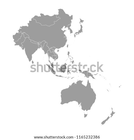 Map of Asia Pacific. Royalty-Free Stock Photo #1165232386