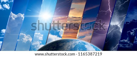 Weather forecast background, climate change concept, collage of sky image with variety weather conditions and planet Earth. Elements of this image furnished by NASA Royalty-Free Stock Photo #1165387219