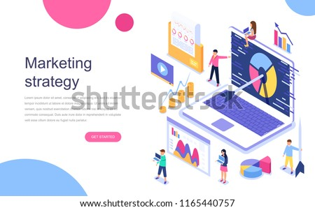 Modern flat design isometric concept of Marketing Strategy for banner and website. Landing page template. Business analysis, content strategy and management concept. Vector illustration. Royalty-Free Stock Photo #1165440757