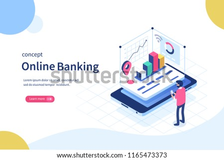 Augmented reality for banking concept. Can use for web banner, infographics, hero images. Flat isometric illustration isolated on white background. #1165473373