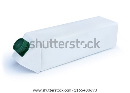 A carton of milk, paper carton box of juice isolated on white background. This has clipping path.  #1165480690