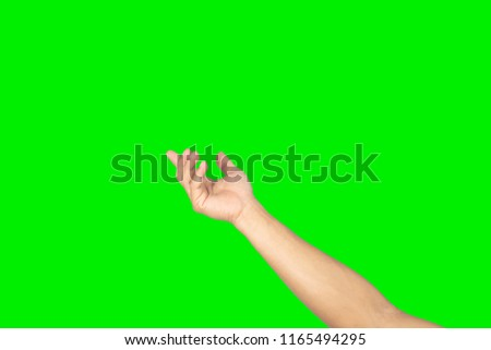 Men hand on green background