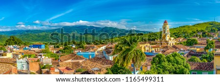 Trinidad de Cuba, panoramic skyline with mountains and colonial houses. The village is a Unesco World Heritage and major tourist landmark in the Caribbean Island #1165499311