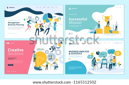 Set of web page design templates for teamwork, project management, business workflow, customer relationship management. Modern vector illustration concepts for website and mobile website development.  Royalty-Free Stock Photo #1165512502