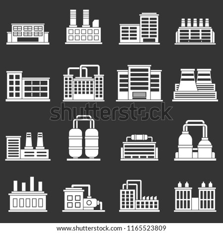 Industrial building factory icons set white isolated on grey background