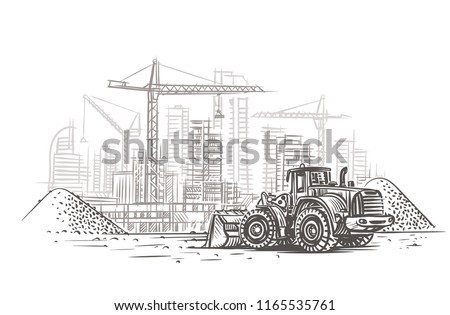 Dozer on construction site sketch. Vector. Layered. Royalty-Free Stock Photo #1165535761