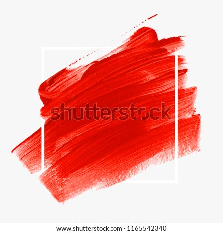 Logo brush painted abstract background design illustration vector over square frame. Perfect acrylic design for headline, logo and sale banner.  #1165542340