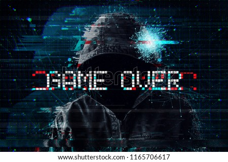 Game over concept with hooded video gamer and glitch effect #1165706617