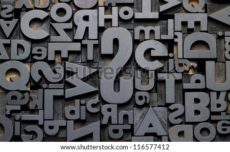 texture of old typefaces in composition