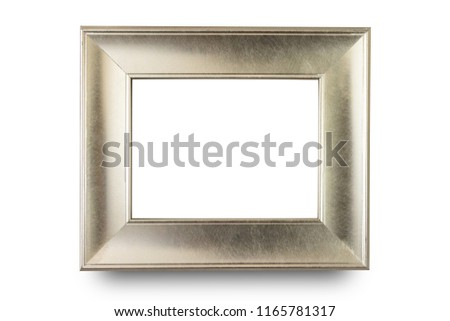 Close up silver frame isolated on white background.