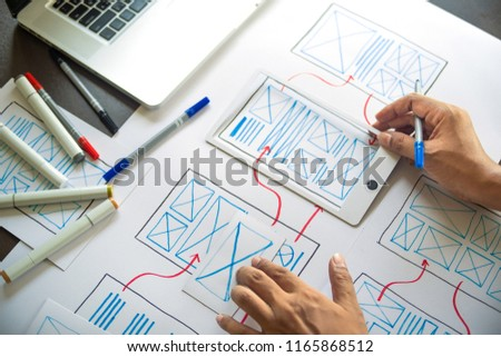 ux Graphic designer creative  sketch planning application process development prototype wireframe for web mobile phone . User experience concept. #1165868512