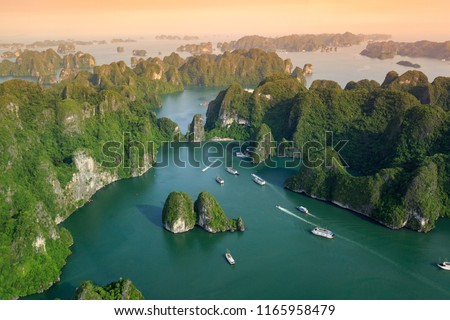 Halong Bay, Vietnam. Unesco World Heritage Site. Ha Long Bay, in the Gulf of Tonkin, includes some 1,600 islands and islets. Beautiful landscape. View from above. Royalty-Free Stock Photo #1165958479