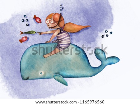 Children's book illustration. Watercolor cute girl with red hair in striped swimming suit on the whale, cozy atmosphere. Greeting card. Can be printed on T-shirts, bags, posters, invitations, cards