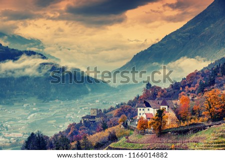 Beautiful mountain and city landscape, South Tyrol, Italy, Dolomites, surroundings Merano #1166014882