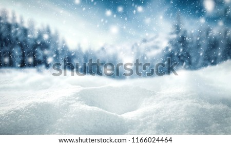 Winter background of snow and frost with free space for your decoration.  #1166024464