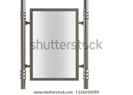 3D rendering of blank billboard (empty advertisement) isolated on white. Empty mockup template #1166036089
