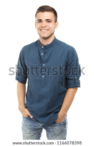 Handsome young man on white background #1166078398