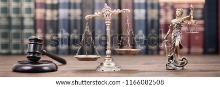 Law and Justice, Legality concept, Lady Justice, Scales of Justice and Judge Gavel on a wooden background, Law library concept. #1166082508