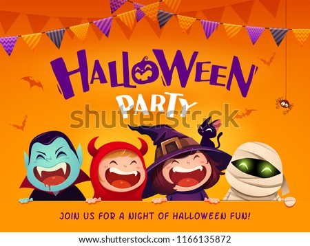 Halloween Party. Group of kids in halloween costume with big signboard.
