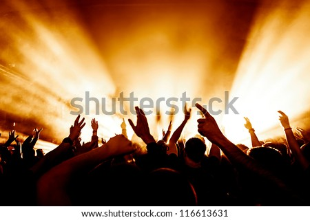 cheering crowd in front of bright stage lights #116613631