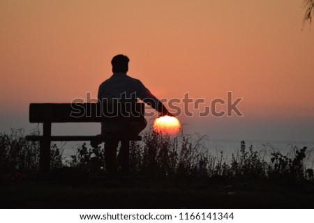 sunset Silhouette with human #1166141344