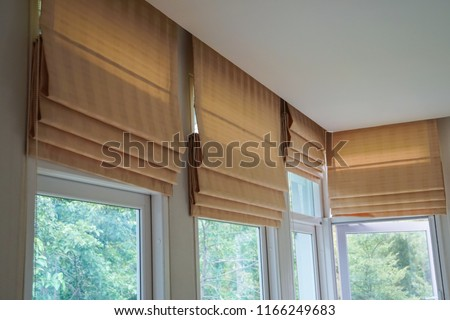 brown roman blind shade curtain tree forest mountain background living room Royalty-Free Stock Photo #1166249683
