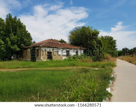 very old village house next to the road between trees with grass field on beutiful summer sky #1166280571