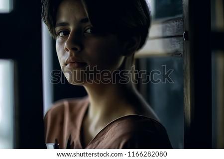 portrait girl artist / genre portrait of a poor girl, the concept of education, training, art. Art school, teen girl #1166282080