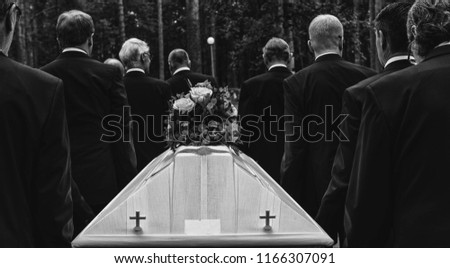 funeral procession and coffin #1166307091