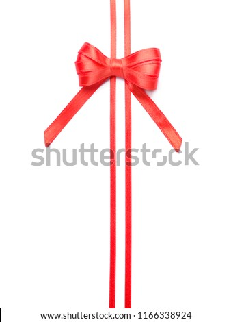 Red ribbons with bow on white background #1166338924