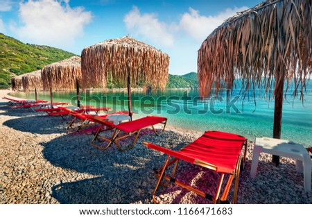 Bright morning view of Antisamos Beach. Sunny spring seascape of Ionian Sea. Picturesque outdoor scene of Kefalonia island, Sami town location, Greece, Europe. Traveling concept background.