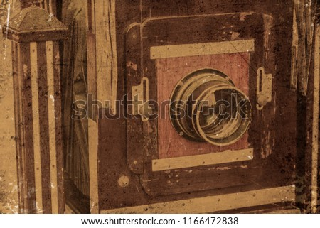 vintage old camera large format closeup front lens with grunge dirty texture.