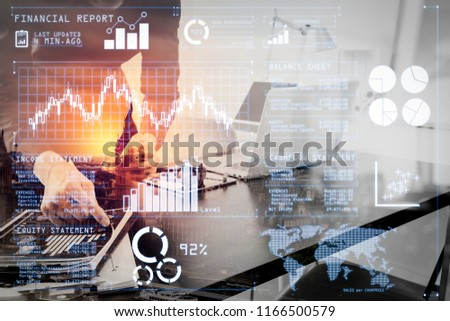 Investor analyzing stock market report and financial dashboard with business intelligence (BI), with key performance indicators (KPI).businessman or Designer using smart phone with latop. #1166500579