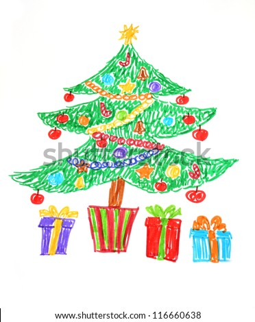 Colorful drawing of decorated Christmas tree and presents. Child style