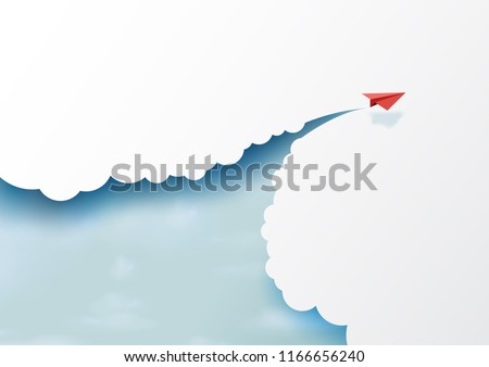 Red paper airplanes flying on blue sky and cloud.Paper art style of business success and leadership creative concept idea.Vector illustration Royalty-Free Stock Photo #1166656240