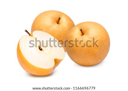 Snow pear or Nashi pears on white background, Korea pear fresh fruit with slices isolated on white background #1166696779
