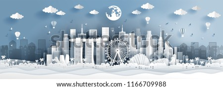 Panorama postcard of world famous landmarks of Singapore in paper cut style vector illustration Royalty-Free Stock Photo #1166709988