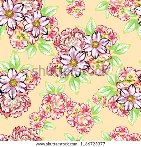 Abstract seamless pattern with plants, herbs and flowers, colorful botanical illustration. #1166723377