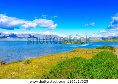Beautiful isolated Iceland beach with blue skies and puffy clouds. Moss covered hills and mountains in background. Pristine river flowing to sea. Snow capped mountain peaks.  #1166817523