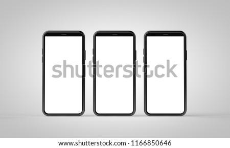 Modern frameless smartphone 3D mock up with blank white screen. 3D Rendering #1166850646