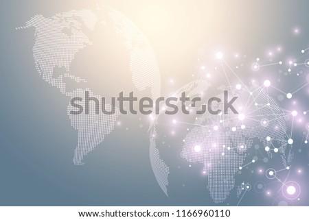 World map point with global technology networking concept. Digital data visualization. Lines plexus. Big Data background communication. Scientific illustration #1166960110